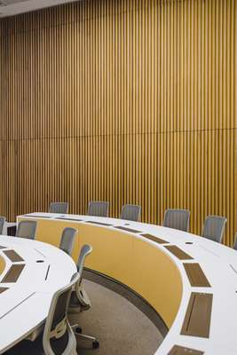 Wood-panelled classroom