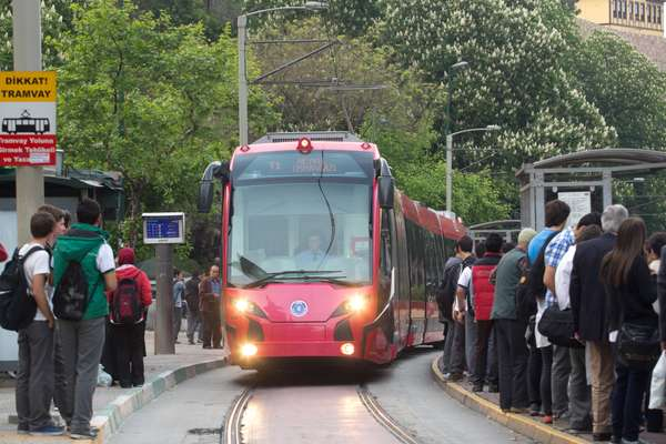 Locally made Silkworm tram on Bursa's streets