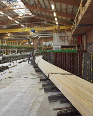 Bending beams for Pilatus Aircraft at Neue Holzbau's workshop
