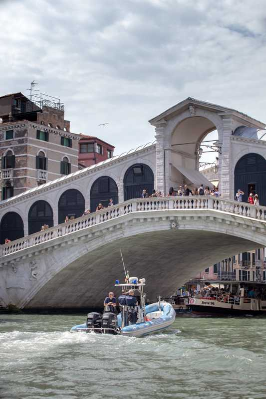 Beneath Rialto bridge