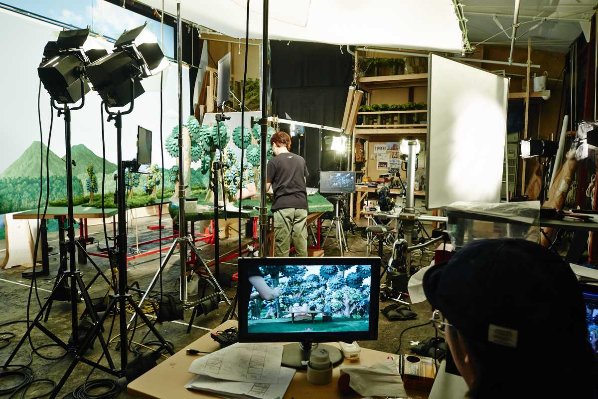 Animator Hirokazu Minegishi in the studio