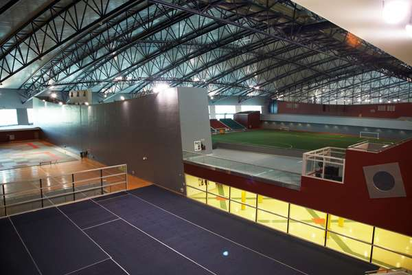 Some of Aspire's courts and the indoor football pitches