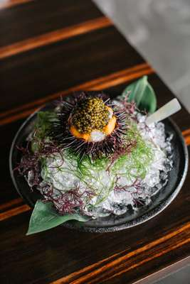 Marinated botan shrimp with sea urchin and oscietra caviar