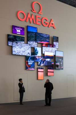 Eye-catching displays at Omega's stand
