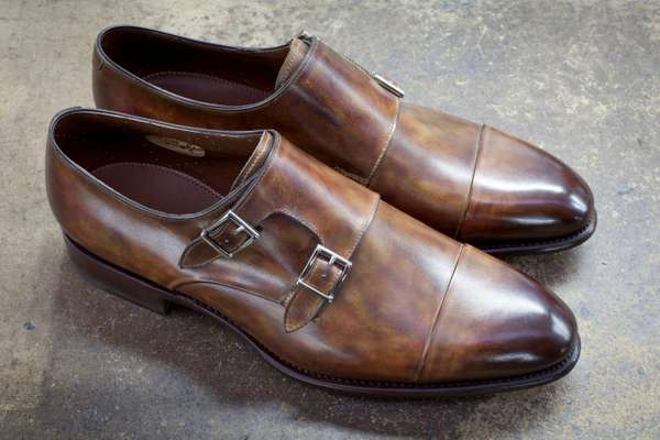 Double monk Carter in calfskin