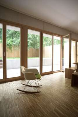 Wood-framed windows allow lots of light