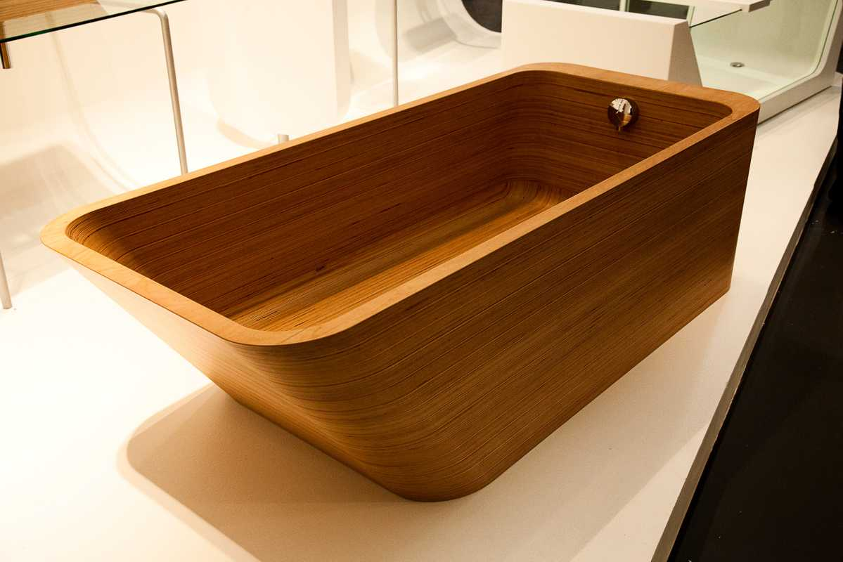 Abby bathtub by Plavis Design in teak or cedar