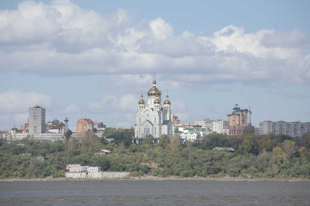 View of Khabarovsk from Bolshoi Ussuriisk island