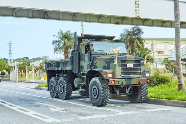 A daily scene around the US military bases in Okinawa