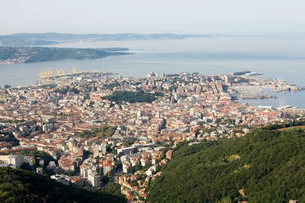 View of Trieste, with commercial port at top left