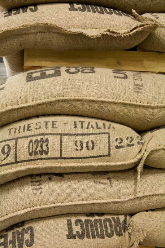 Arabica coffee beans at Illy's Trieste warehouse