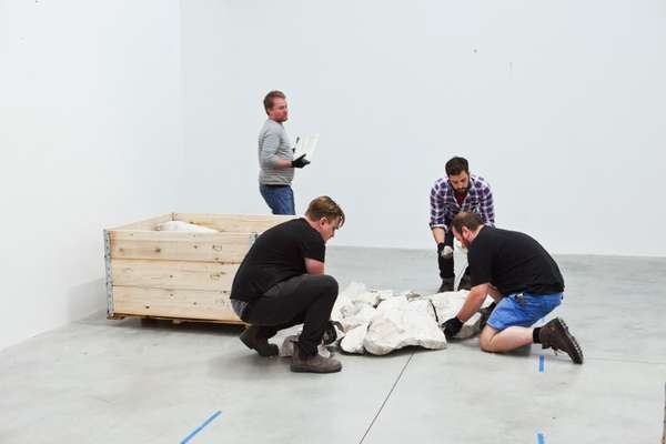 White Onyx Line' by Richard Long being installed