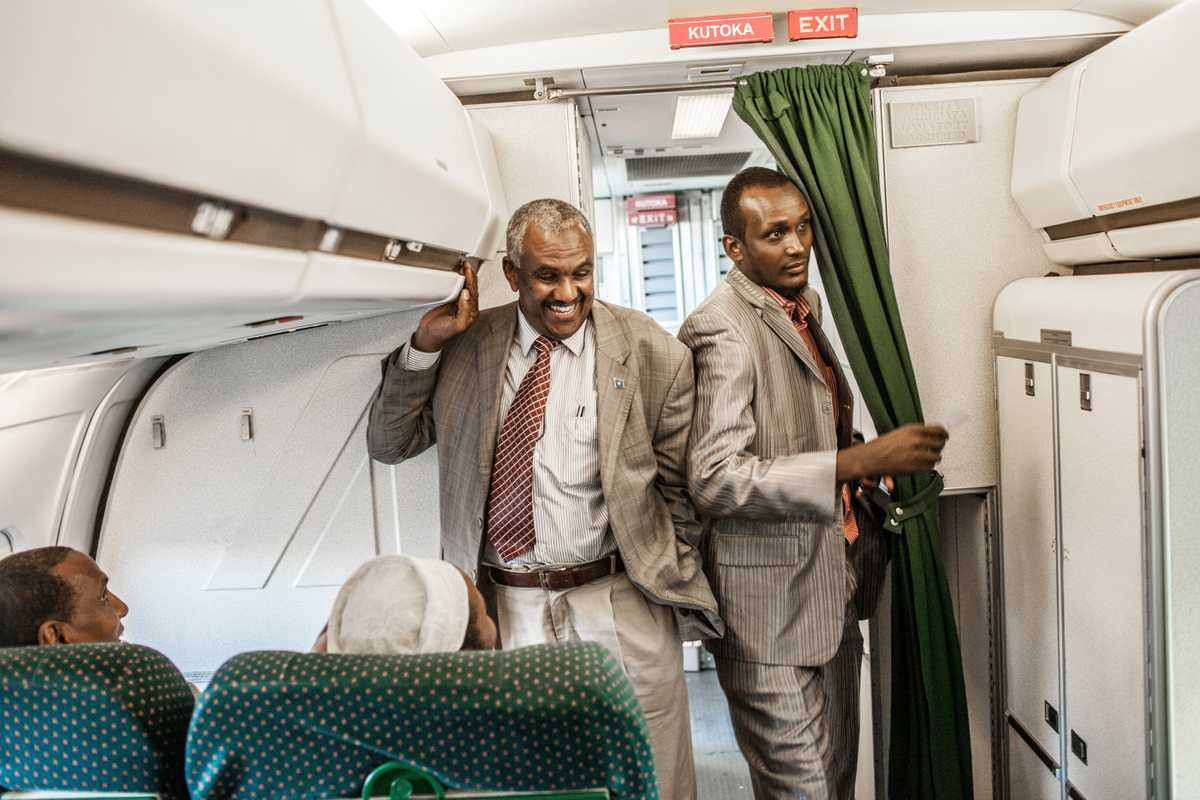 Business-class passengers boarding the leg to Mogadishu