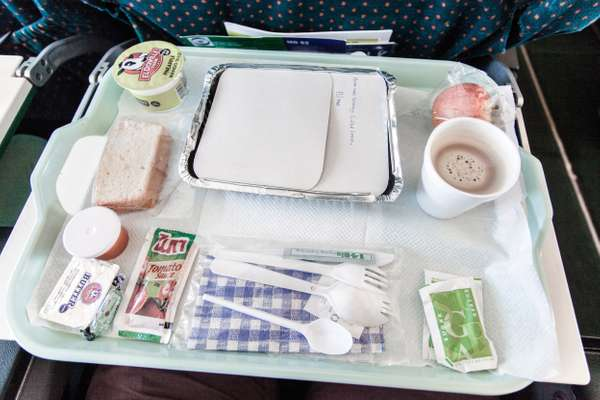 In-flight meal in business class en route to Mogadishu