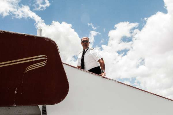 Captain Gamero boarding at Hargeisa airport