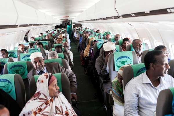 Passengers preparing for take-off at Berbera airport