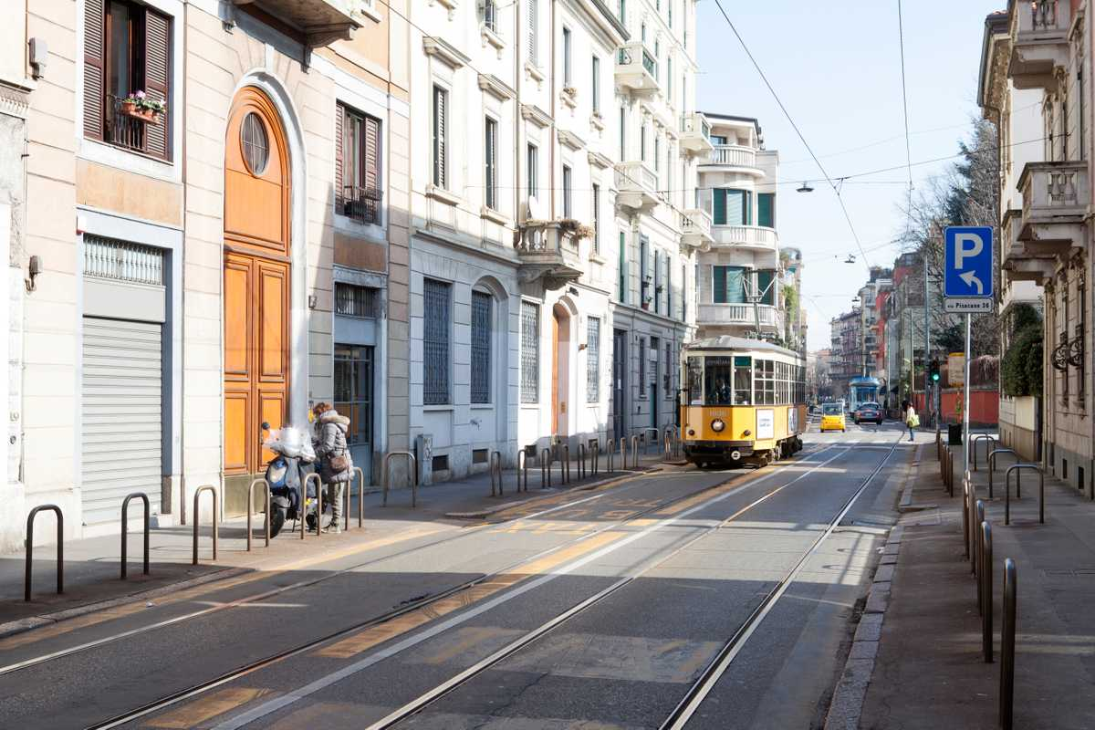 Milanese tram in the Porta Venezia district