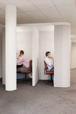 Students using audio study booths