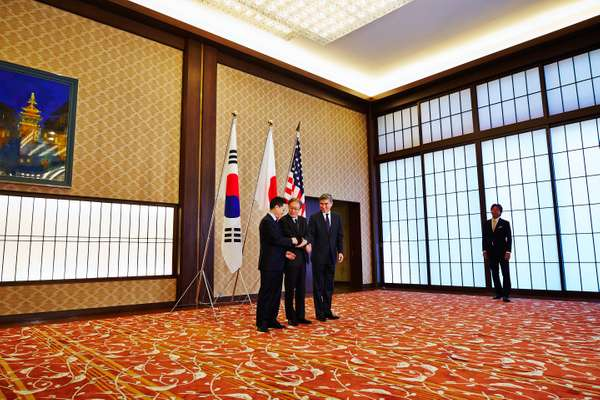 Talks between Japan, South Korea and the US at Iikura Guest House