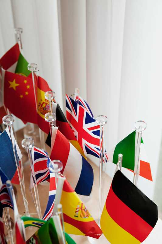 Flags for use in the  dining area