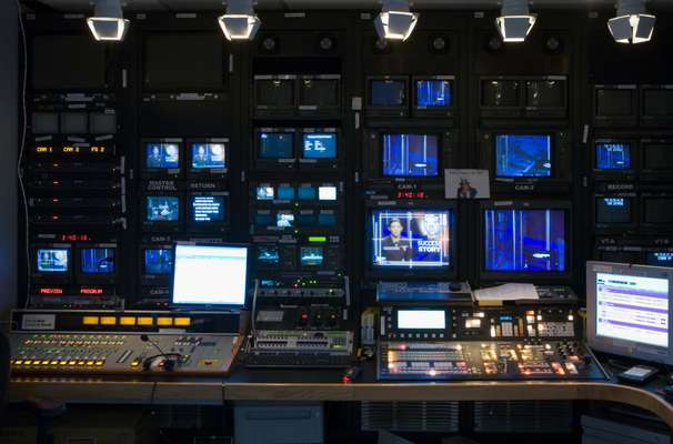 A broadcast control suite at the Pentagon Channel