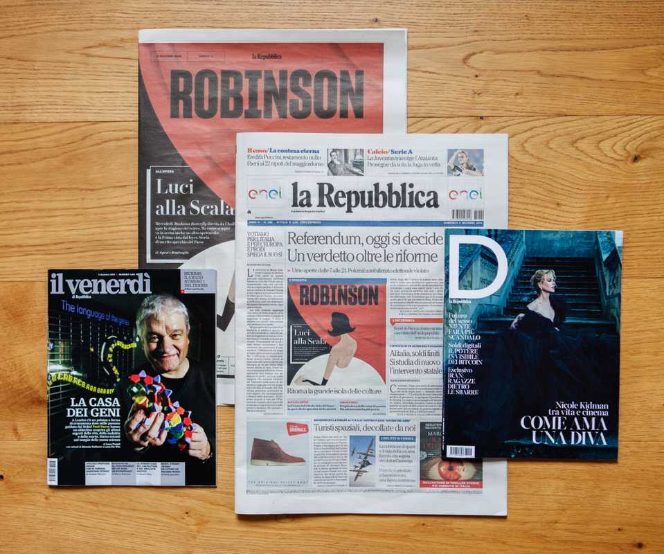 Daily newspaper 'La Repubblica' alongside weekly inserts 'D' magazine, 'Il Venerdì' and 'Robinson'