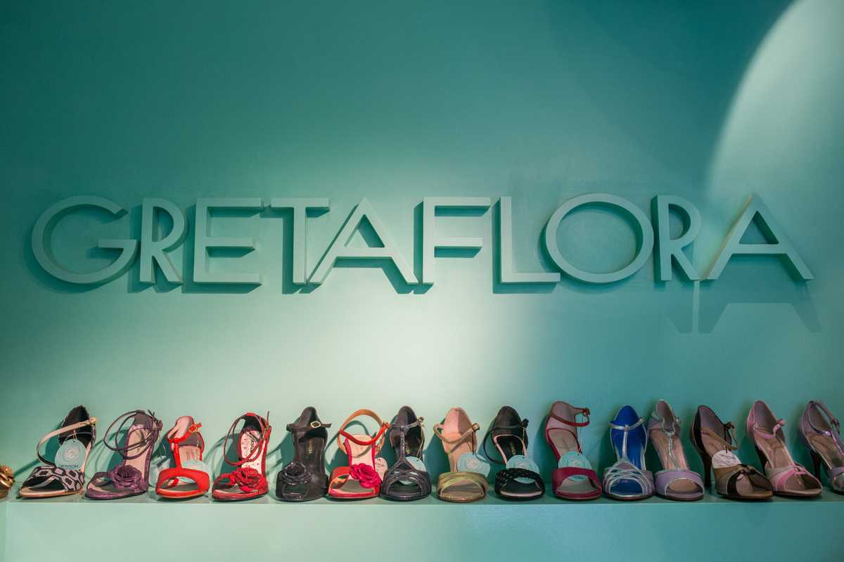 Tango shoes on display at the Gretaflora shop in Buenos Aires's Palermo district