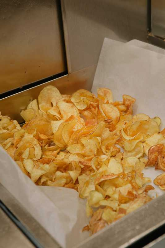 Crisps fresh from the fryer