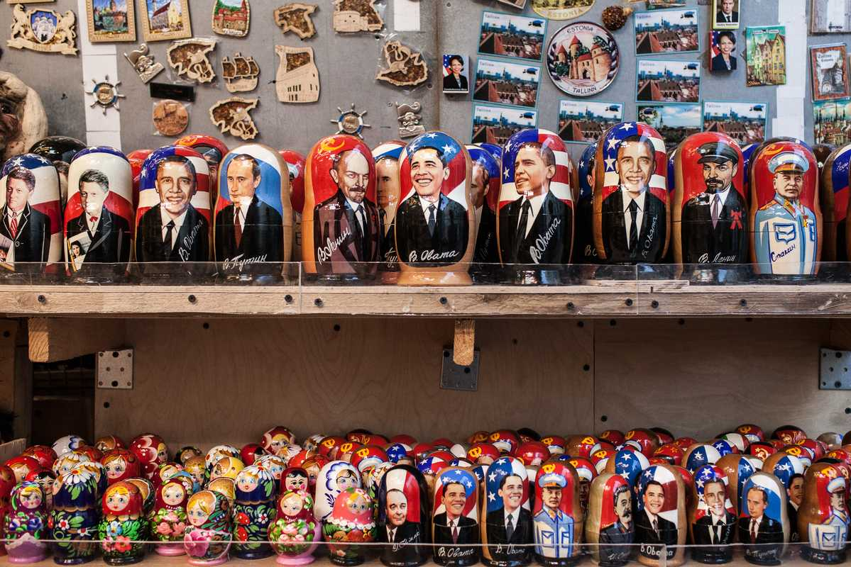 Russian dolls in a tourist shop, Tallinn, Estonia