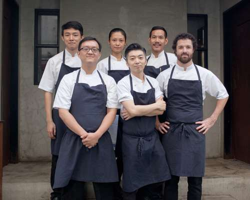 Richie Lin (front row, centre) with his Mume kitchen team