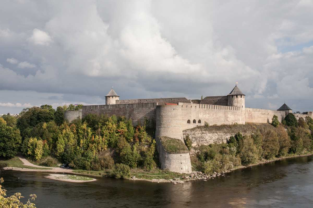 Fort on Russian border opposite Narva, Estonia