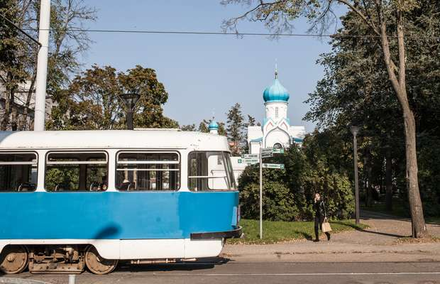 Soviet-era trams in central Daugavpils