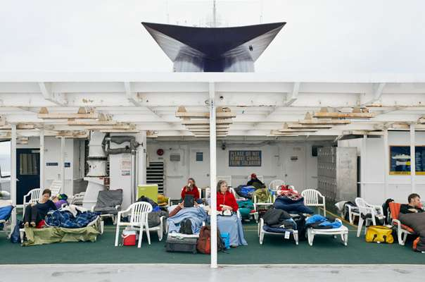 Passengers camp out in the solarium