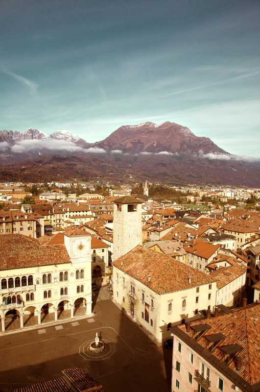 View of Belluno with Dolomites in the background