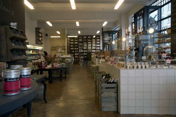 A touch of Heimat kitsch graces the deli's interior
