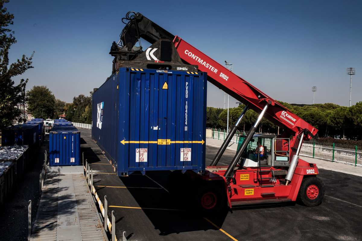 A container being prepared for export