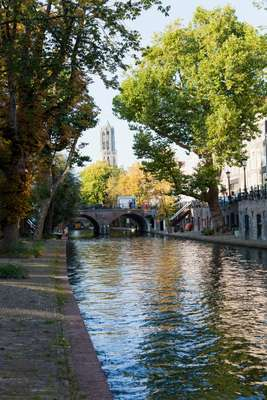 Oudegracht, or Old Canal, runs through the centre of Utrecht