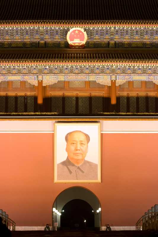 Mao Tse-tung looking down onto Tiananmen Square from the Gate of Heavenly Peace