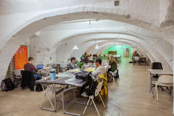 Shared workspace inside a wharf cellar