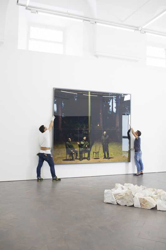 Hanging a Jeff Wall photograph
