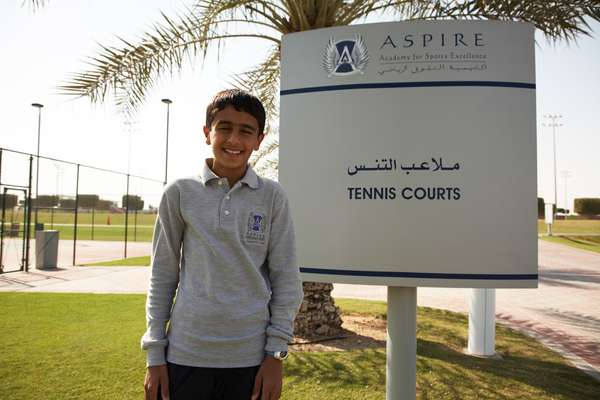 **Name:** Mohammed Nasser Khinji, 13. Khinji, a Qatari, wants to be a professional tennis player. He has travelled to Spain, France and Tunisia with Aspire.