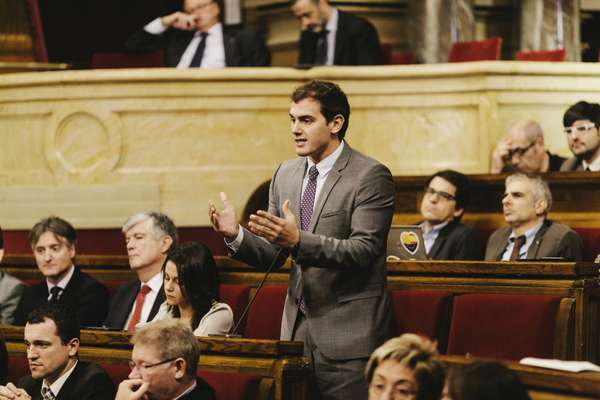 Albert Rivera from the new Ciudadanos party on the floor of the Catalonian parliamenta