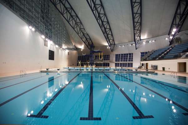 Aspire's indoor pool which is currently closed while the windows are blacked out so that women can use it