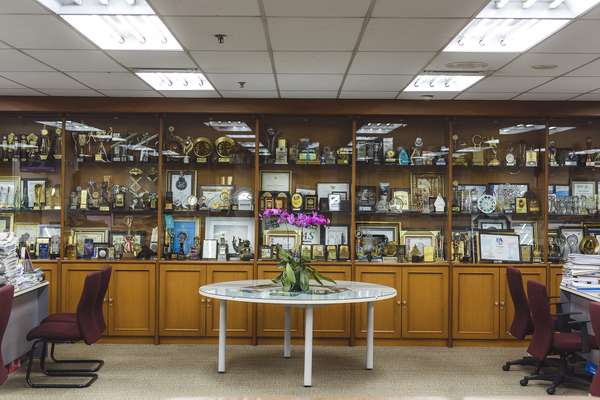 Awards collection in the 'Kompas' newsroom