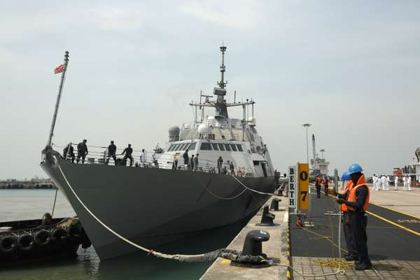 The 'Freedom' docks at Changi Naval Base