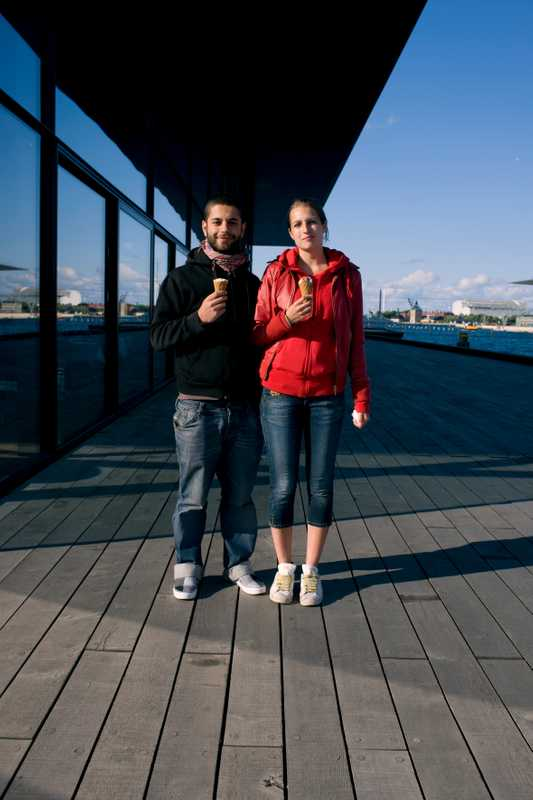 Zaniar Amin, 24, and Mia Nielson, 20, by the Royal Playhouse