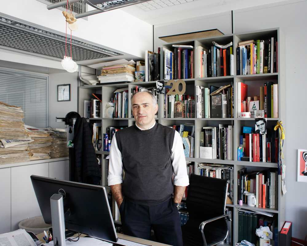 Art director Angelo Rinaldi in his office