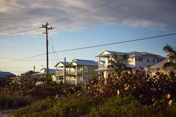 Row of homes facing the water on  Anna Maria Island