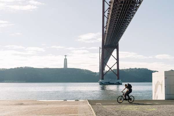Section of cycle lane under the 25 de Abril bridge, Lisbon