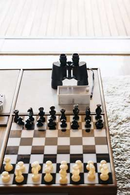 Chessboard coffee table with built-in stereo system